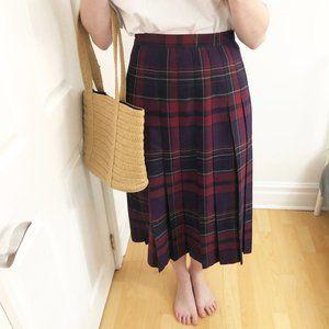 Vintage 100% Wool Plaid Tartan Midi Skirt Kilt USA